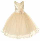 Flower Girl Dress - Gold Sequin Double Mesh Special Occasion Dress