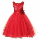 Flower Girl Dress -  Red Sequin Double Mesh