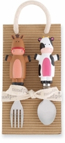 Mud Pie - Barnyard Toddler Fork and Spoon Set - sold out
