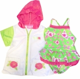 Toddler Girls Swimsuit and Robe Set - Green Hibiscus