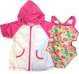 Toddler Girls Swimsuit Set -  Daisy Butterfly Back One Piece and Robe