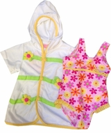 Toddler Girls Pink Daisy Swimsuit and Robe Set  2T LAST ONE