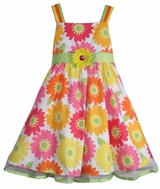 Rare Editions Dress : Yellow/ Pink/ Orange Floral  Print Sundress