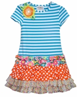 Rare Editions Dress Girls 2T - 12  Turquoise Striped Tiered Ruffle Dress