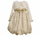 Bonnie Jean Ivory and Gold Bubble Dress  12 month FINAL SALE