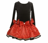 Bonnie Jean Girls Holiday Dress -Red and Black Polka Dot Bow Dress
