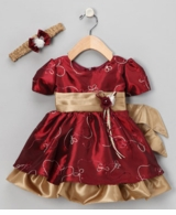 Toddler Christmas Dress or Holiday Dress  Burgundy Taffeta with Headband
