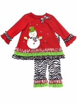 Rare Editions Snowman Top and Zebra Legging Set 2T 3T 4T