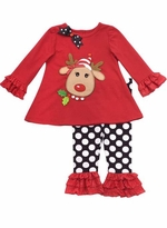 Baby Girls Red Reindeer Tunic and Dot Legging Set for Christmas