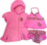 Hot Pink Infant Leopard Swimsuit Tankini and Robe - Infant Girls