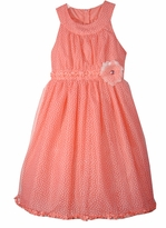 Girls 5  -  14  Girls Summer Dress  Coral Dot by Rare Editions