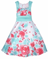 Girls Aqua Rose Floral Border Print Dress SOLD OUT