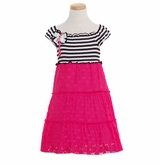 Rare Editions Smocked Bodice Black/ White Striped Coral Knit Dress