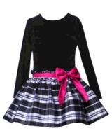 Girls Holiday Dress - Black and White Velvet Plaid  sold out