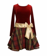 Bonnie Jean Girls Burgundy Plaid Velour Holiday Dress-SOLD OUT