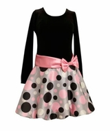Girls Dresses :  Pink, Silver and Black Dot Hipster Dress