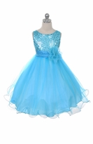 Flower Girl Dress - Aqua Sequin Double Mesh Special Occasion Dress