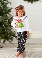 Girl's Black Polka Dot Holiday Pant Set: Mud Pie Infant or Toddler Christmas Pant Set
