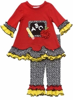 Rare Editions ABC Chalkboard Girl's Red Back to School Legging Set
