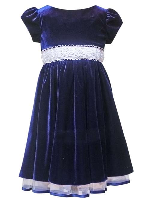 Rare Editions Girls Holiday Dress - Blue Velour      2T at Sears.com