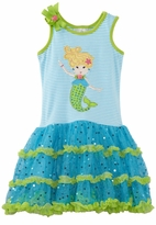 Turquoise and Lime Mermaid Applique Dress