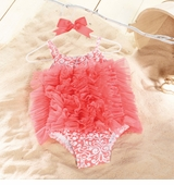 Mud Pie -  Coral Damask One Piece Swimsuit  6-9 month SOLD OUT