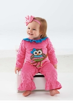 Mud Pie Baby Girl's One Piece Owl Ruffle Outfit