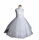 Girls White Dress Organza Tiered Dress - Formal Gown