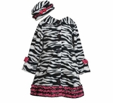 Girl's Zebra Fleece Coat with Hat