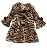 Girls Coat - Camel Tiger Print Fleece Coat