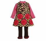 Girl's 4-6x Leopard Fleece Rushed Flower Jumper Set