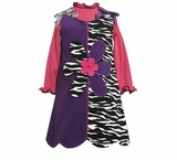 Bonnie Jean 4-6x Purple to Zebra Corduroy Jumper Dress