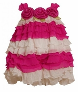 Bonnie Jean Newborn Girls Fuchsia White Tiered Eyelash Ruffle Bubble