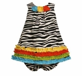 Bonnie Jean Baby Girls Zebra Knit Print Rusching Dress