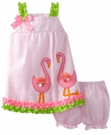 Pink Seersucker Dress With Flamingo Applique 3T