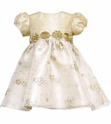 Rare Editions Infant or Toddler Girls Gold Taffeta Dress CLEARANCE