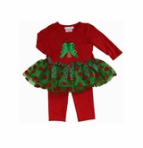 Red Christmas Tree Legging Set  12 month