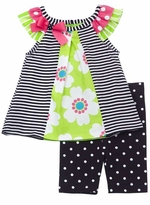 Black/ White Stripe With Lime Floral Print Short Set