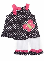 Rare Editions Black/ White Polka Dot Legging Set With Butterfly Applique