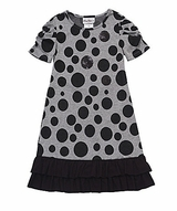 Rare Editions Girls 2T - 16 Grey Dot Knit Dress