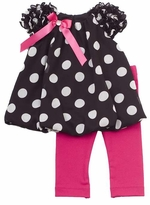 Toddler Girls Black and Fuchsia Dot Bubble Legging Set