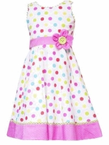 Girls Sundress 4-6X  Rare Editions White and Pink Dot Dress