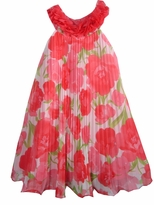 Rare Editions Coral/ Lime Floral U-Neck Dress