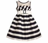 Girls Dress Resort Navy Bias Striped Dress