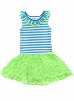Rare Editions Turquoise Striped Lime Ruffle Dress