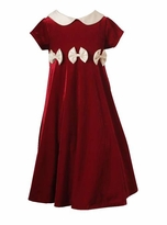 Rare Editions Girls 4-6X Red Velvet Girls Holiday Bow Dress