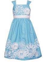Rare Editions Girls Turquoise Soutache Sundress 4-6X