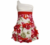 Bonnie Jean Red and White One Shoulder Floral Dress - sold out