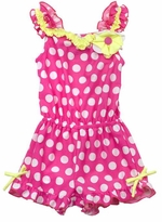 Fuchsia/ White Large Dot Romper