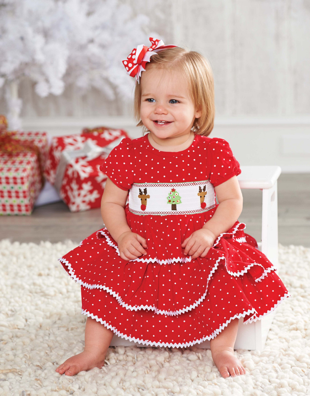 Mud Pie Holiday Dress: Red Girls Infant or Toddler Corduroy Smocked Chistmas Dress 12-18 months at Sears.com